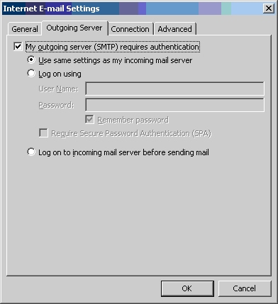 User same settings as my incoming mail server
