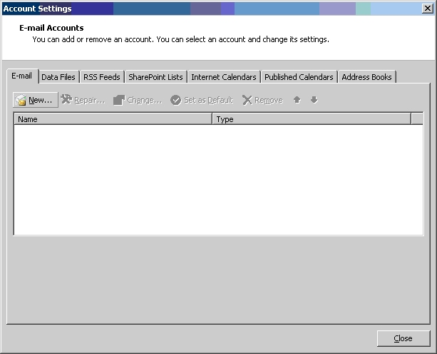 how to open account in outlook 2007