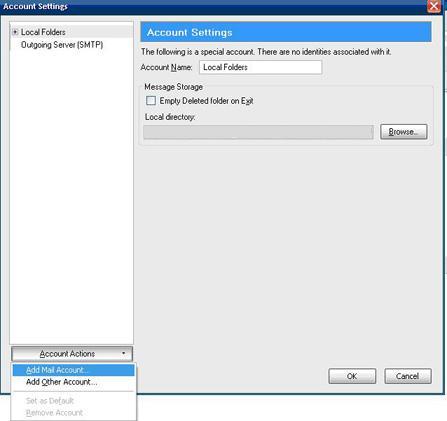 Account settings screen