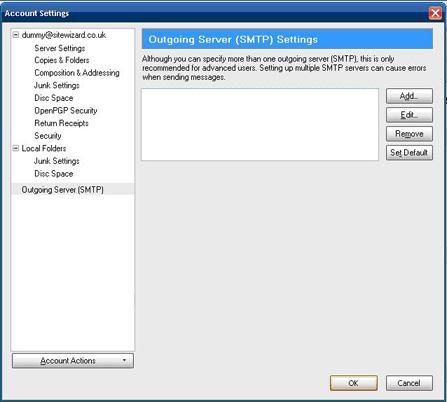 Adding an outgoing server (SMTP)